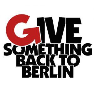 Das Bild zeigt das Logo von Give something back to berlin, ein Netzwerkpartner des Neuköllner EngagementZentrums.