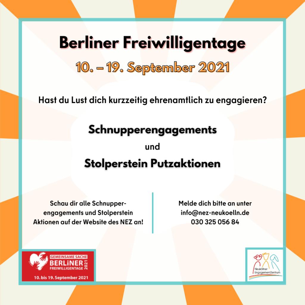 Das Bild zeigt Informationen zu den Berliner Freiwilligentagen in Neukölln 2021.
