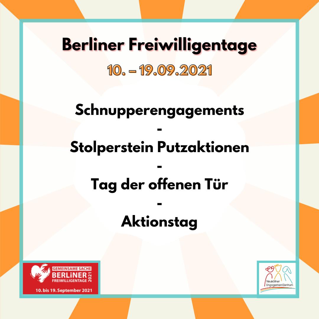 Das Bild zeigt die Aktionen rund um die Berliner Freiwilligentage vom 10. bis 19. September 2021: Schnupperengagements, Stolperstein Putzaktionen, Tag der offenen Tür, Aktionstag